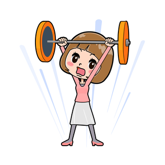 Pink clothes young woman barbell