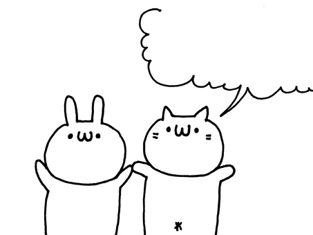 Rabbit and cat message