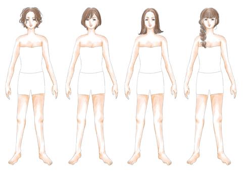 Fashion illustration brown hair body 03