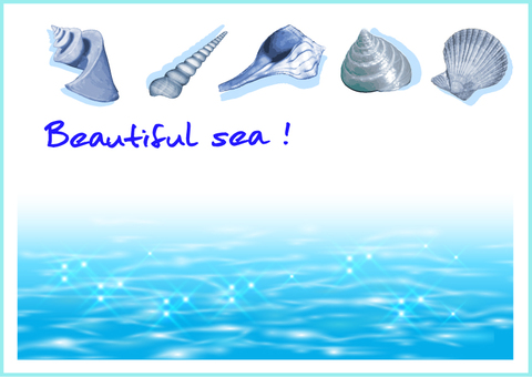 Beautiful blue water and shellfish message card