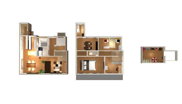 4LDK Floor plan ① (3D straight overhead · furniture)