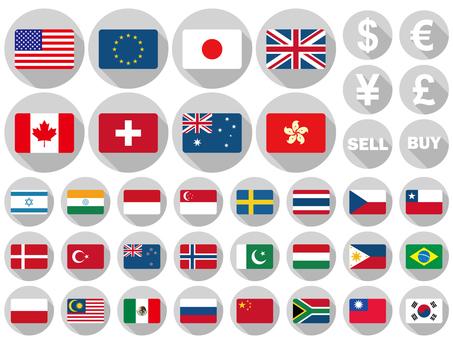 Flag flat design major currencies 32