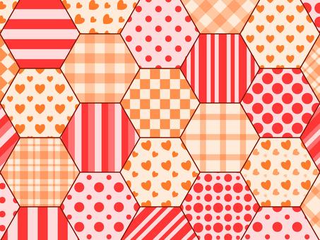 육각 패치 워크 레드 × 오렌지