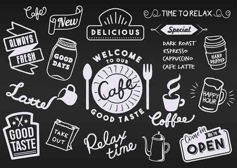 Cafe logo blackboard menu
