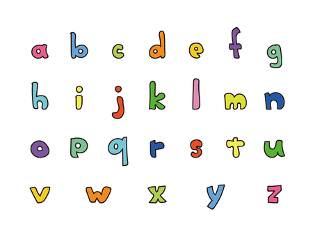 Handwritten alphabet lowercase color set 2