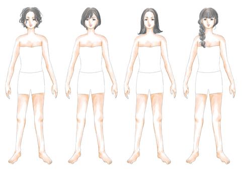 Fashion illustration black hair body 03
