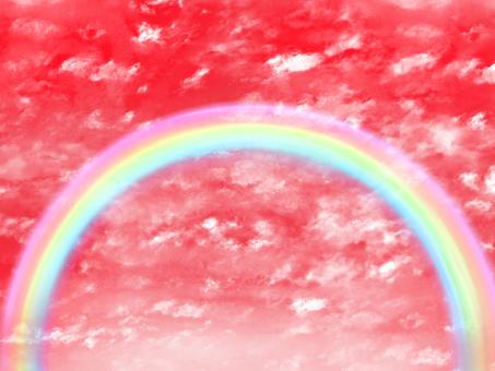 Evening sky and rainbow