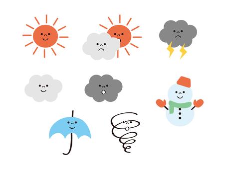 날씨 _ 미소 _ 맑은 _ 우산 _ 눈사람 _ 선 없음