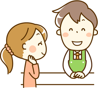 Service counter staff and female guests