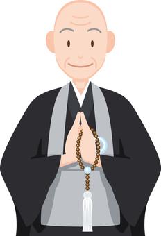 Buddhist priest's upper upper body