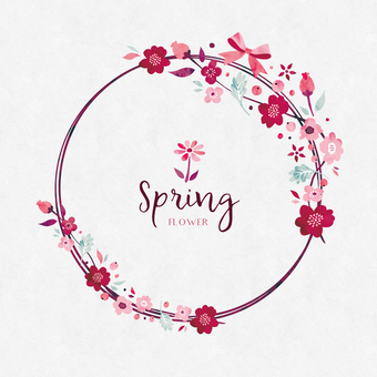 Spring background frame 041 flower water color garland
