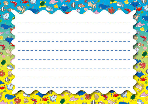 A collection of cute sea creatures! Letter paper 02