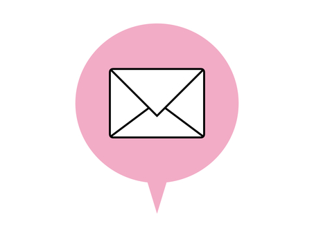 Mail icon speech bubble pink
