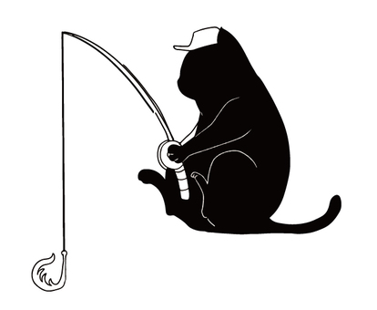 Black cat silhouette fishing