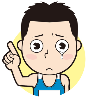 Pointing Male athlete (crying)