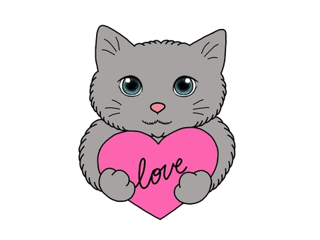 A cat with a red heart