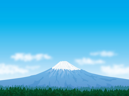 Mt. Fuji with green and fresh blue sky background 02