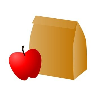 Apples and paper bags