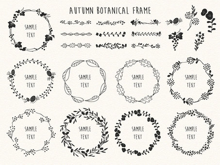 秋のボタニカルフレーム_線画