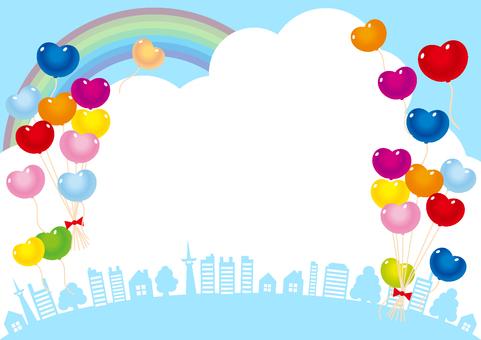 青空虹とハート形風船とビル風景フレーム枠