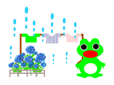 Clothes washing, surprised by sudden rain Mr. frog