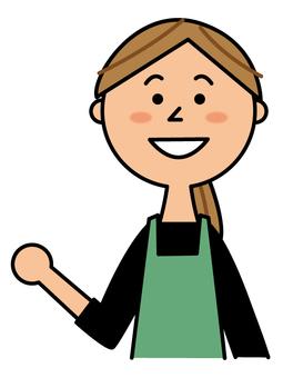 Female clerk to guide _ upper body