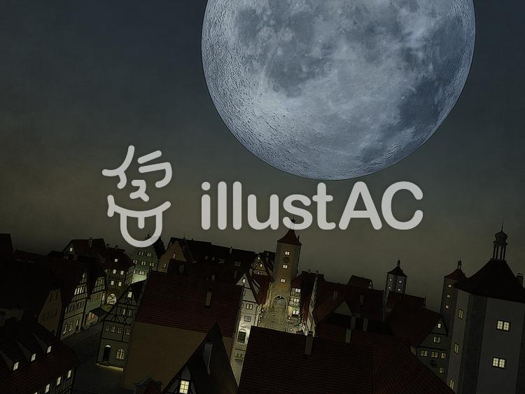 中世の魔法国の巨大な月の夜のイラスト