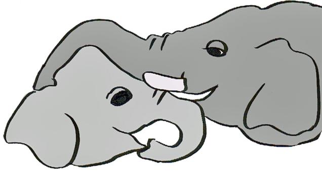 Elephant parent and child