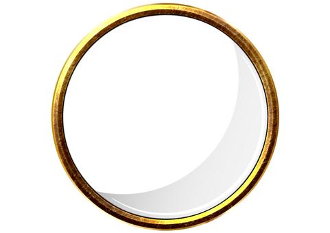 Golden 3D circular frame round frame