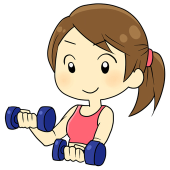 Women training with dumbbells