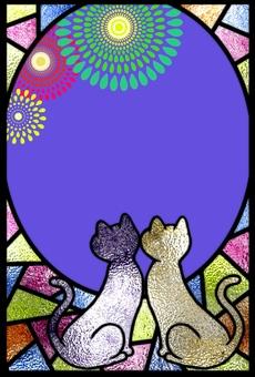 彩色玻璃貓和煙花