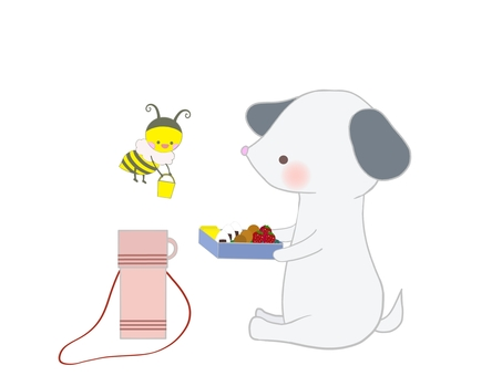Illustration of a dog and a bee eating a lunch
