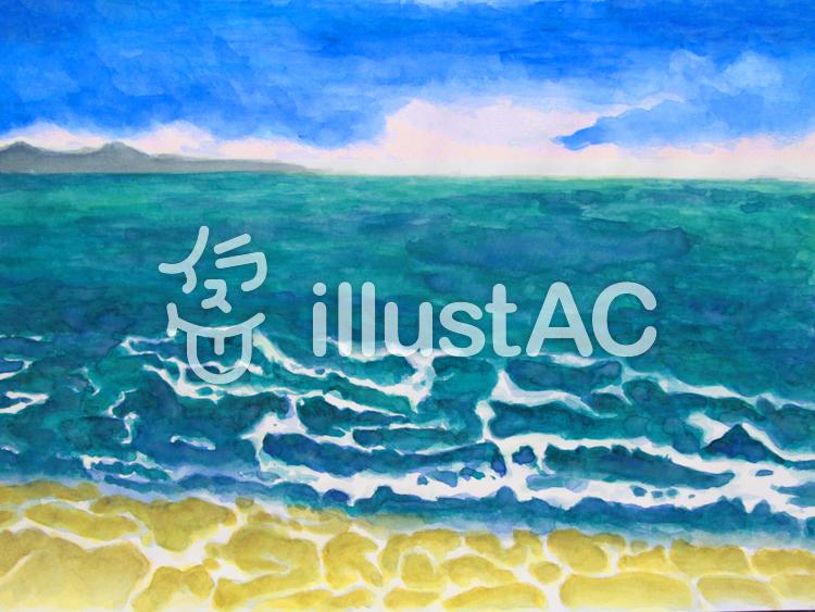 水彩 夏の海