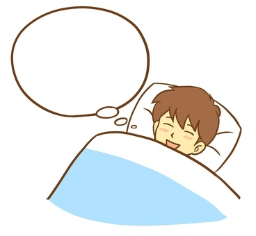 A man sleeping with a good dream (speech balloon)
