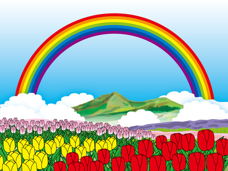 Tulips and mountains (6) Rainbow
