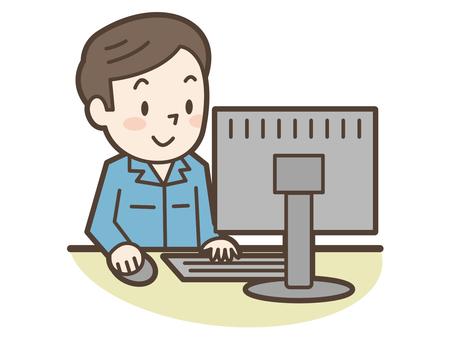 工作服男性电脑
