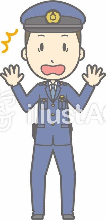 警察官男性a-ビックリ-全身のイラスト