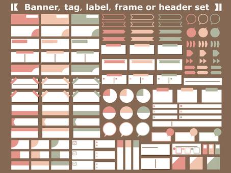 프레임 핑크 녹색 표제 세트 스티커 메모 화살표