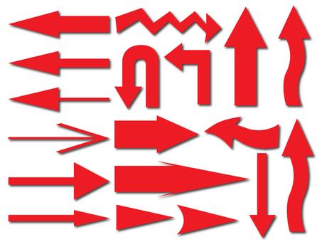 箭頭各種材料集(紅色)