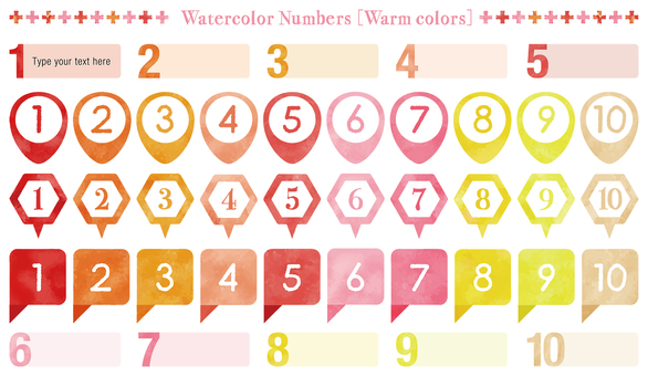 Water color touch number set: warm color