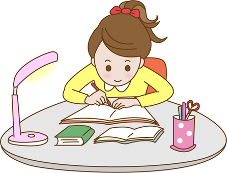 The girl who is studying