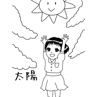 Coloring book of the sun and girl
