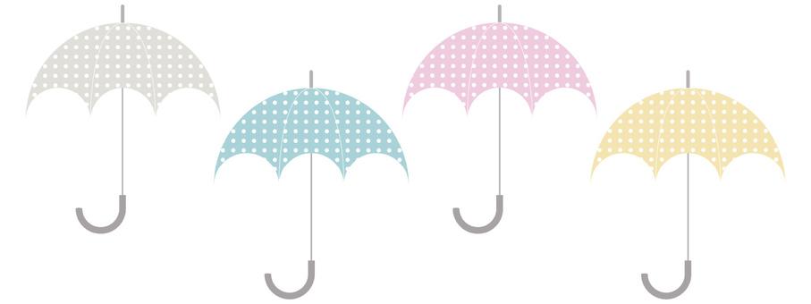늘어선 4 색의 우산