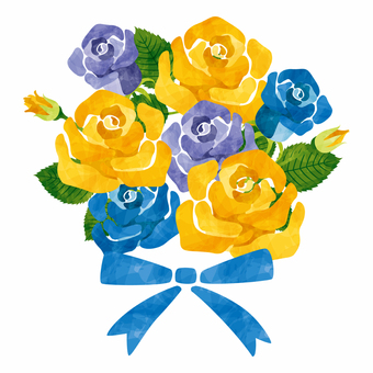 장미 꽃다발 / 노랑 파랑 아버지의 일용
