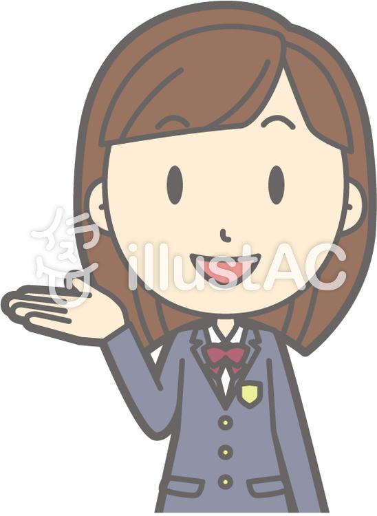 女子高生冬a-案内笑顔-バストのイラスト
