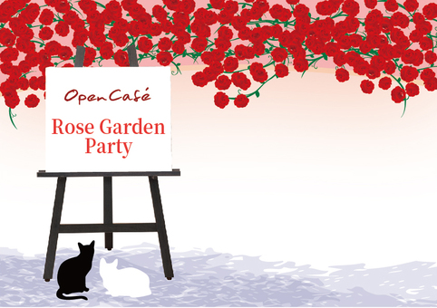Open cafe, illustration, red rose and cat