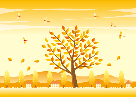 Colored autumn tree and landscape