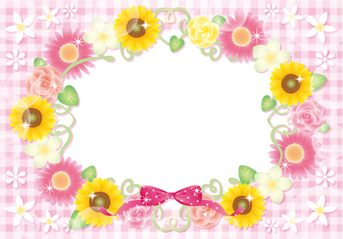 Sunflower and flower frame (pink)