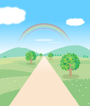 Landscape with road illustration