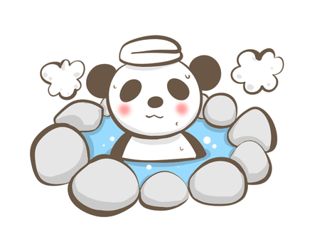 Panda that gets into hot spring